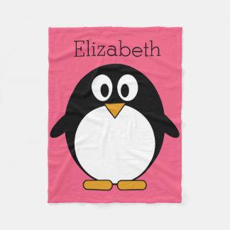 Cute Cartoon penguin Illustration Hot Pink Black Fleece Blanket