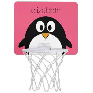 Cute Cartoon penguin Illustration Hot Pink Black Mini Basketball Hoop