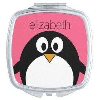 Cute Cartoon penguin Illustration Hot Pink Black Mirror For Makeup