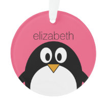 Cute Cartoon penguin Illustration Hot Pink Black Ornament