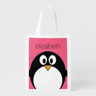Cute Cartoon penguin Illustration Hot Pink Black Reusable Grocery Bag
