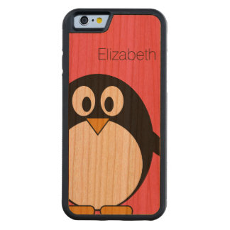 Cute Cartoon Penguin Illustration with Custom Name Carved® Cherry iPhone 6 Bumper