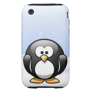 Cute Cartoon Penguin in a Snowy Winter Scene Tough iPhone 3 Covers