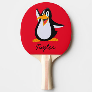 Cute Cartoon Penguin on Red with Name Ping-Pong Paddle