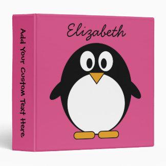 cute cartoon penguin pink and black 3 ring binders