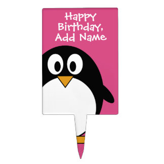 cute cartoon penguin pink and black cake topper