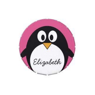 cute cartoon penguin pink and black candy tin
