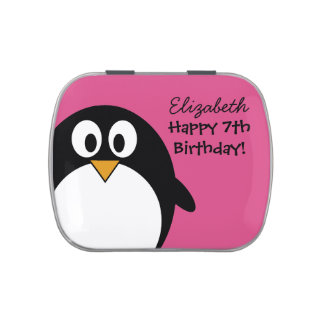 cute cartoon penguin pink and black candy tins
