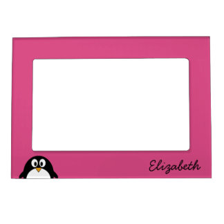 cute cartoon penguin pink and black magnetic photo frame