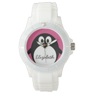 cute cartoon penguin pink and black watch