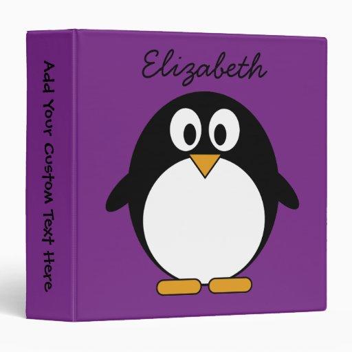 cute cartoon penguin purple binders