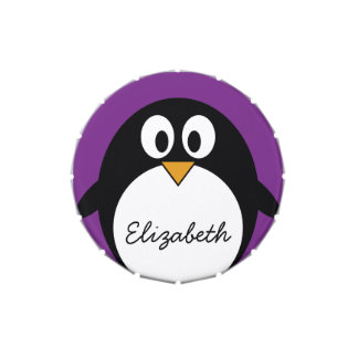 cute cartoon penguin purple jelly belly tins