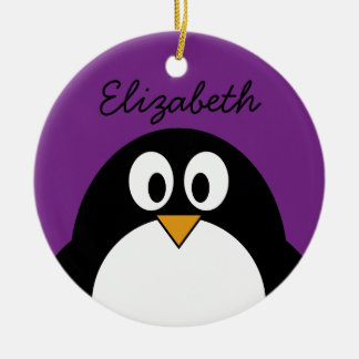 cute cartoon penguin purple ceramic ornament