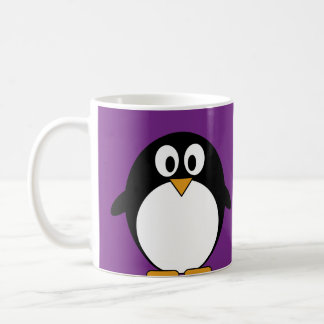 cute cartoon penguin purple coffee mug
