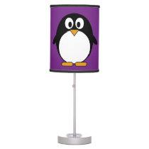 cute cartoon penguin purple desk lamp