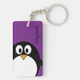 cute cartoon penguin purple keychain