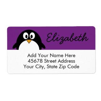 cute cartoon penguin purple shipping label