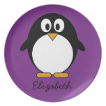cute cartoon penguin purple melamine plate