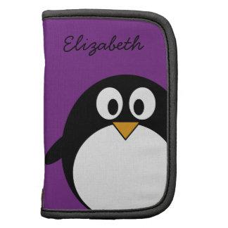 cute cartoon penguin purple folio planners