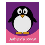 cute cartoon penguin purple poster