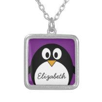 cute cartoon penguin purple silver plated necklace