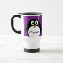 cute cartoon penguin purple travel mug