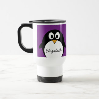 cute cartoon penguin purple travel mug