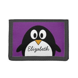 cute cartoon penguin purple tri-fold wallet