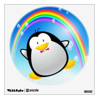 Cute Cartoon Penguin & Rainbow Wall Decal