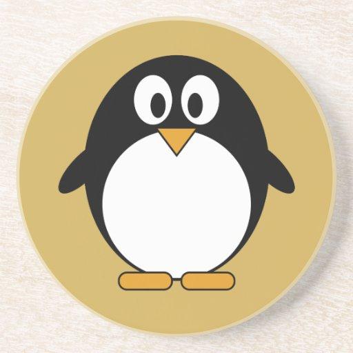 Cute cartoon penguin sandstone coaster