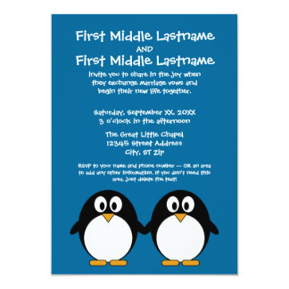 cute cartoon penguin with blue background card