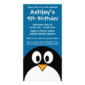 cute cartoon penguin with blue background card
