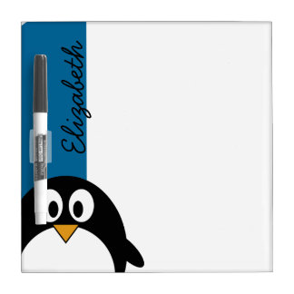 cute cartoon penguin with blue background Dry-Erase board