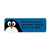 cute cartoon penguin with blue background label