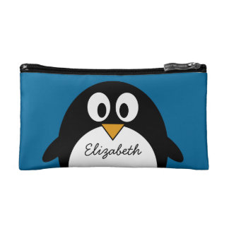 cute cartoon penguin with blue background makeup bag