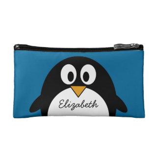 cute cartoon penguin with blue background makeup bag