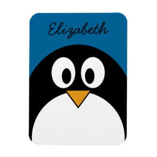 cute cartoon penguin with blue background rectangular photo magnet