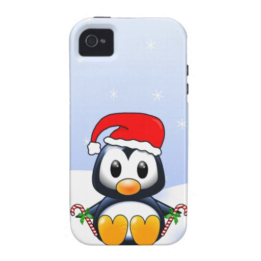Cute Cartoon Penguin with Candy Canes iPhone 4/4S Cover