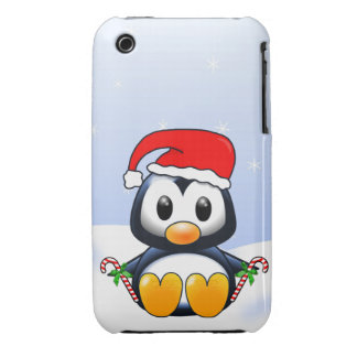 Cute Cartoon Penguin with Candy Canes iPhone 3 Cover