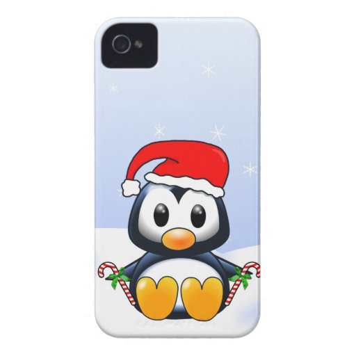 Cute Cartoon Penguin with Candy Canes Case-Mate iPhone 4 Case