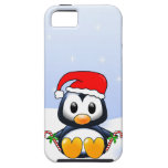 Cute Cartoon Penguin with Candy Canes iPhone 5 Case