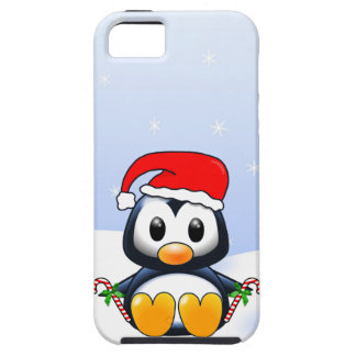 Cute Cartoon Penguin with Candy Canes iPhone SE/5/5s Case