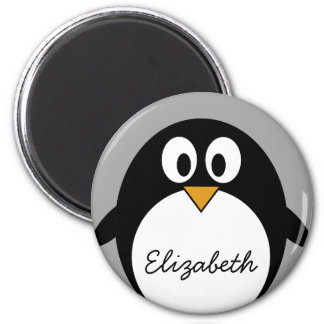 Cute cartoon penguin with gray background 2 inch round magnet