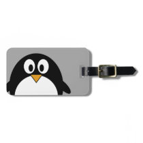 Cute cartoon penguin with gray background bag tag