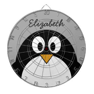 Cute cartoon penguin with gray background dart board