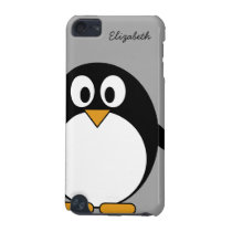 Cute cartoon penguin with gray background iPod touch (5th generation) cover