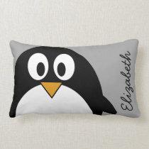 Cute cartoon penguin with gray background lumbar pillow