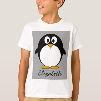 Cute cartoon penguin with gray background T-Shirt