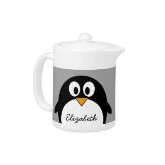 Cute cartoon penguin with gray background teapot