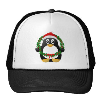Cute Cartoon Penguin with Holly Wreath Hat